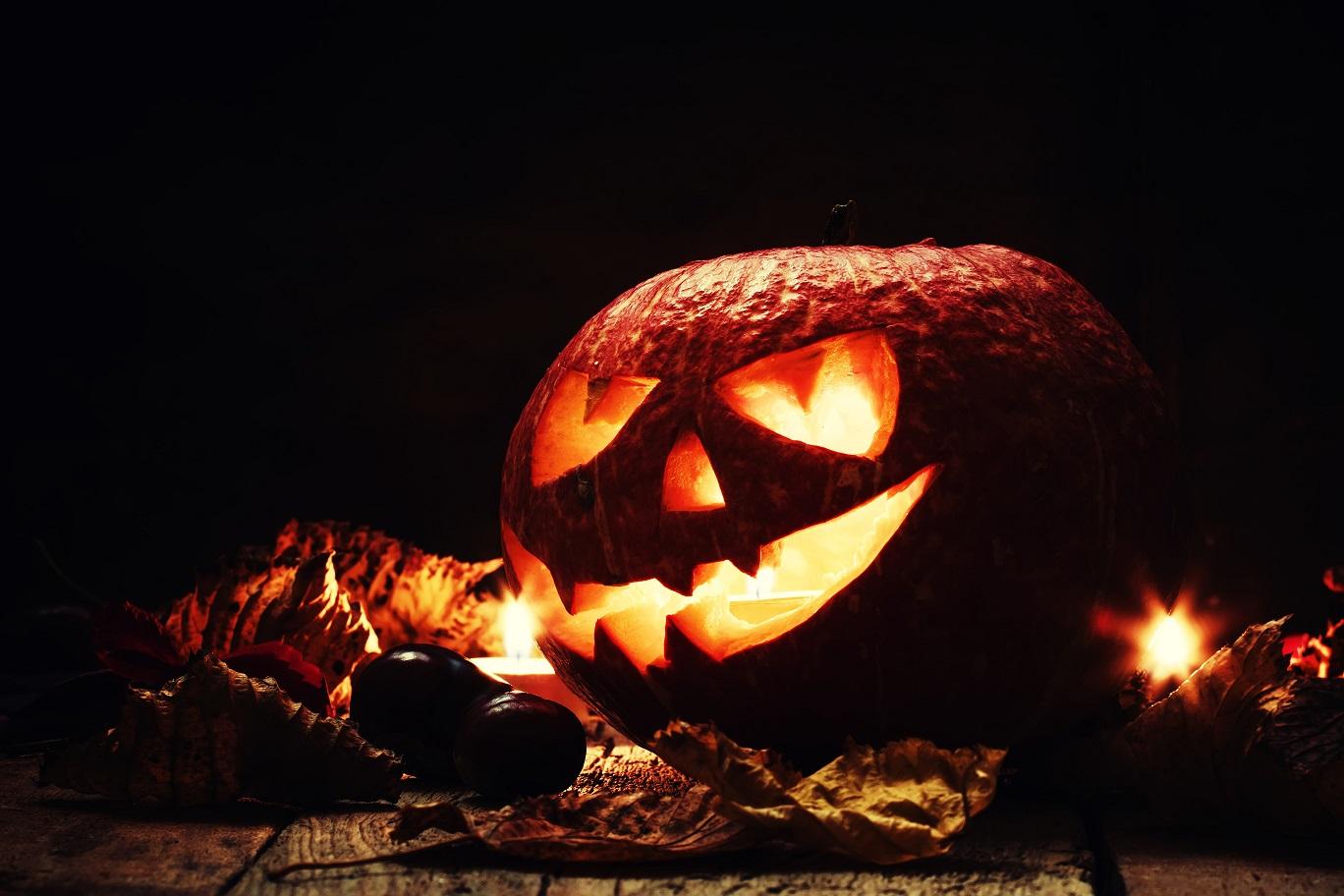 Halloween pumpkin, dark wooden background, selective focus